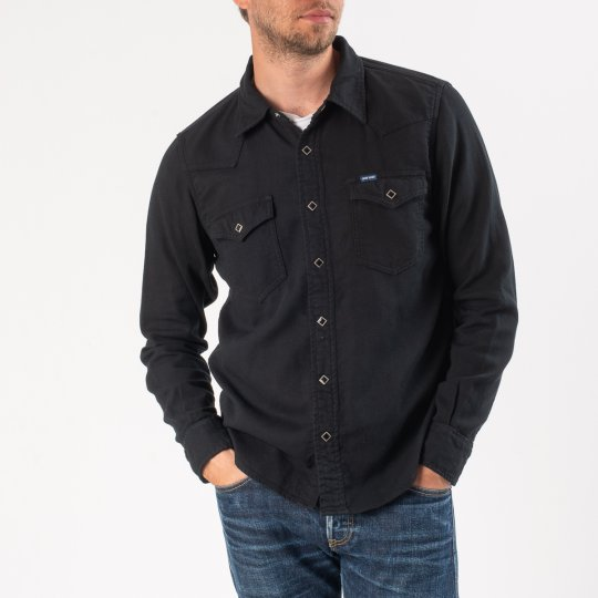 5oz Cotton Linen Chambray Western Shirt – Black
