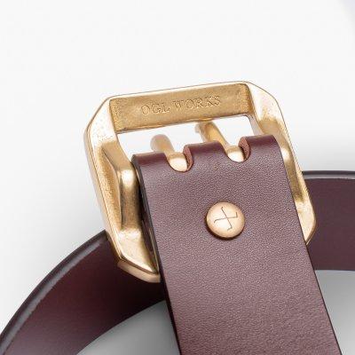 OGL Double Prong Garrison Buckle Leather Belt - Tan