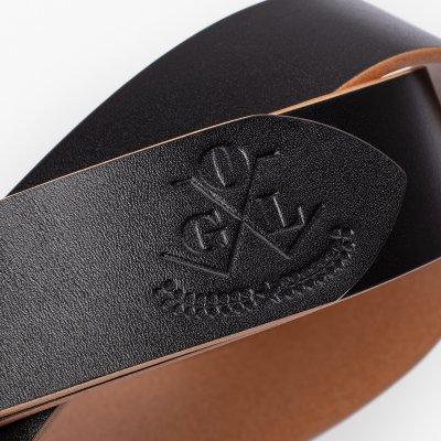 OGL Single Prong Garrison Buckle Leather Belt  - Hand-Dyed Black