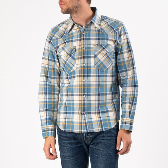 5.5oz Madras Check Western Shirt -  Indigo/Yellow