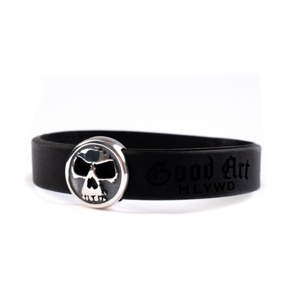 GOOD ART HLYWD Skull Rubber Biscuit Bracelet - Sterling Silver