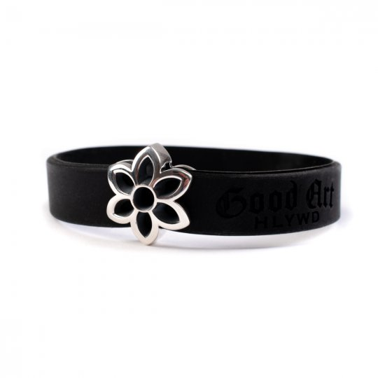 GOOD ART HLYWD Cut Out Rosette Rubber Biscuit Bracelet - Sterling Silver
