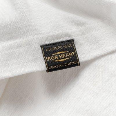 6.5oz Printed Loopwheel Crew Neck Long Sleeved T-Shirt - White