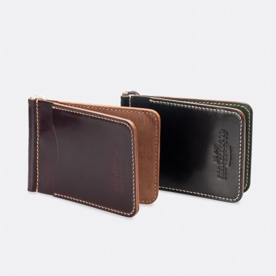OGL Hand Stitched Shell Cordovan Money Clip - Black, or No. 8