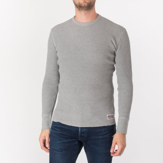 Waffle Knit Long Sleeved Crew Neck Thermal Top - Grey