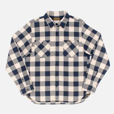Ultra Heavy Buffalo Check Work Shirt - Navy/Ivory
