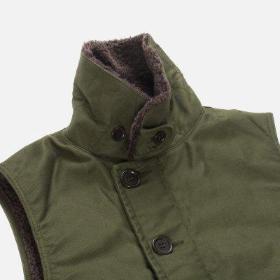 Alpaca Lined Whipcord N1 Deck Vest - Olive