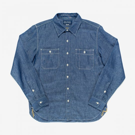 Indigo 5oz Cotton Linen Chambray Work Shirt