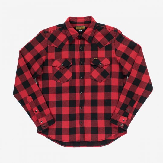 Ultra Heavy Flannel Buffalo Check Western Shirt - Red/Black