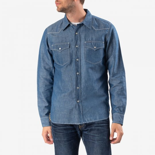 5oz Selvedge Cotton Linen Chambray Western Shirt – Indigo