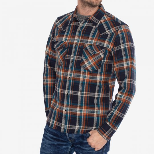 Ultra Heavy Flannel Crazy Check Western Shirt - Navy
