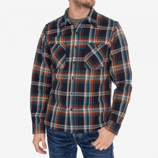 Ultra Heavy Flannel Crazy Check Work Shirt - Navy