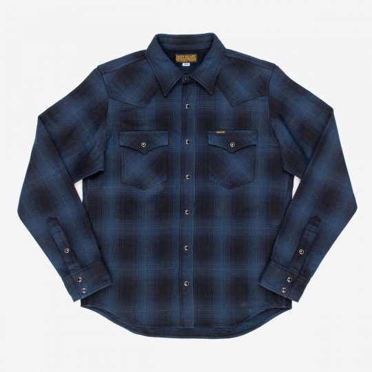Ultra Heavy Flannel Ombré Check Western Shirt - Navy/Black