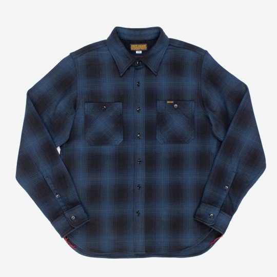 Ultra Heavy Flannel Ombré Check Work Shirt - Navy/Black