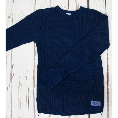 Indigo Dipped Long Sleeved Thermal Crew Neck