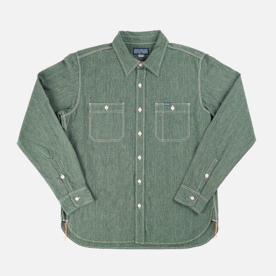 10oz Mock Twist Chambray Work Shirt - Green