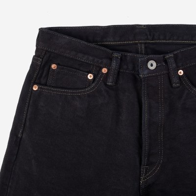 21oz Selvedge Denim Medium/High Rise Tapered Cut Jeans – Mad Black