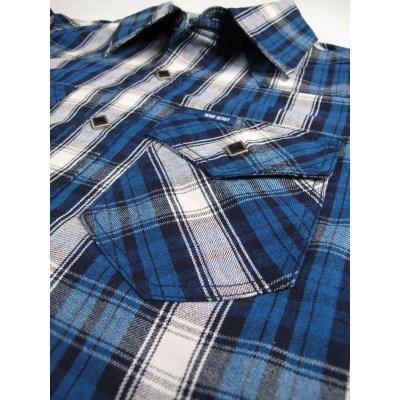 Indigo Check Western Shirt - Blue and Red