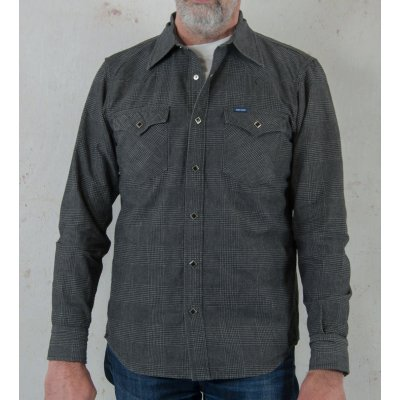 Glen Check Printed Chambray Western Shirt