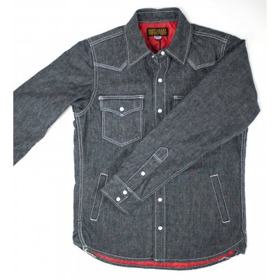 Quilt Lined Selvedge Chambray Western Shirt With Side Pockets